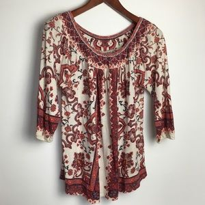 Lucky Brand Boho Print Long Sleeve Blouse